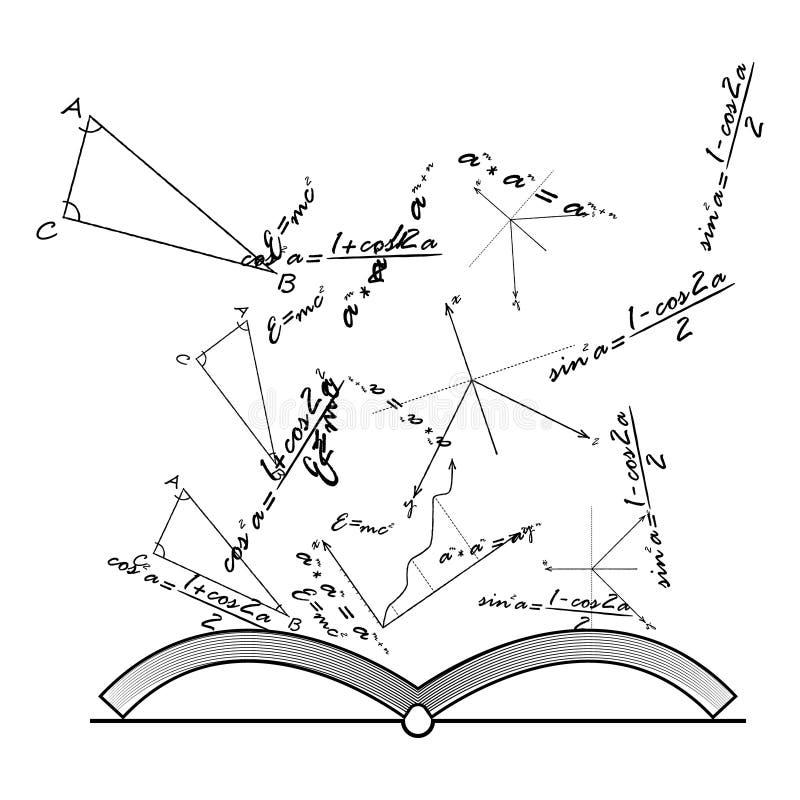 打开与数学和物理惯例,传染媒介的知识书 库存例证