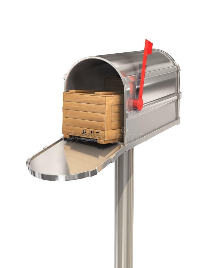 打开与木箱的邮箱 免版税图库摄影