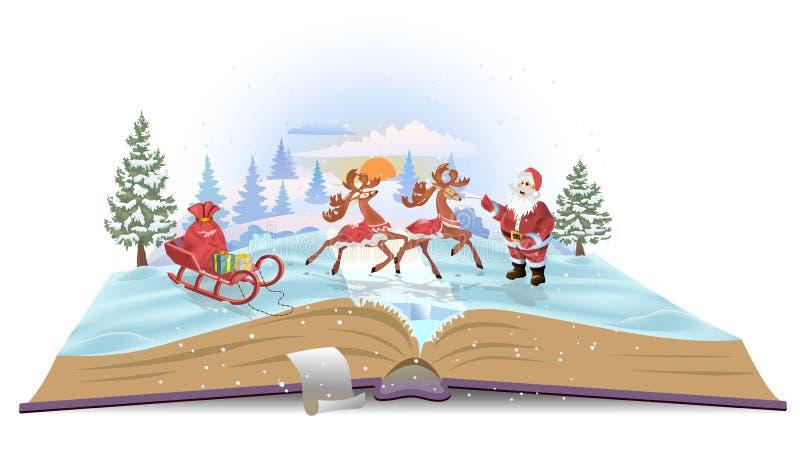 打开与爬犁和鹿的书圣诞老人 皇族释放例证