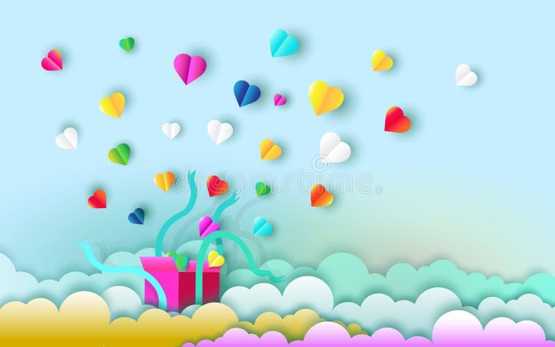 打开与爱的心脏的礼物盒 皇族释放例证