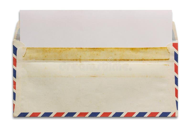 打开与空白的信件的老航寄信封 库存图片