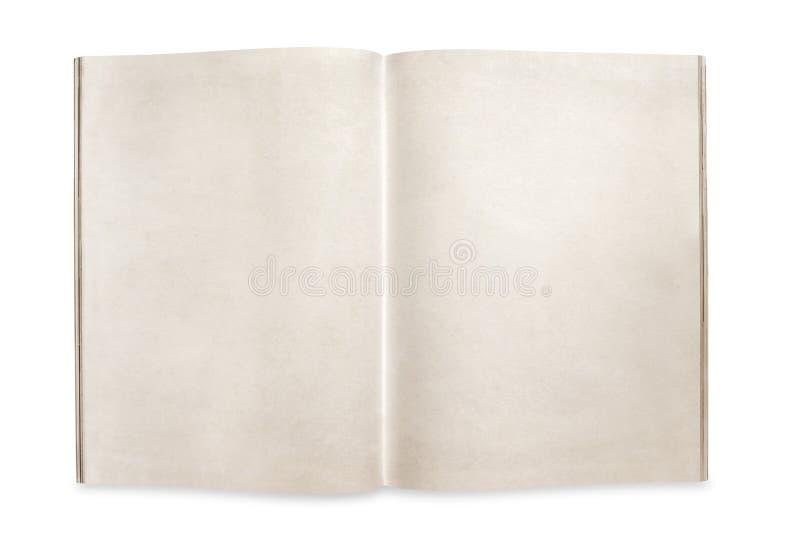 打开与空白页的杂志隔绝与道路 免版税库存照片