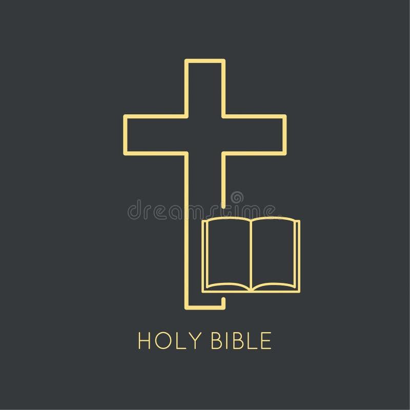 打开与耶稣受难象的圣经 向量例证