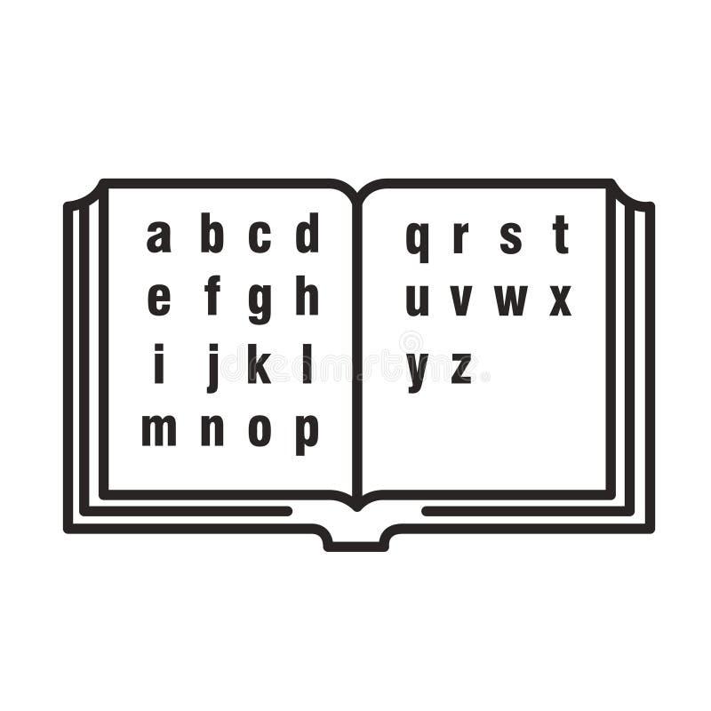 打开与英语字母表的书 皇族释放例证