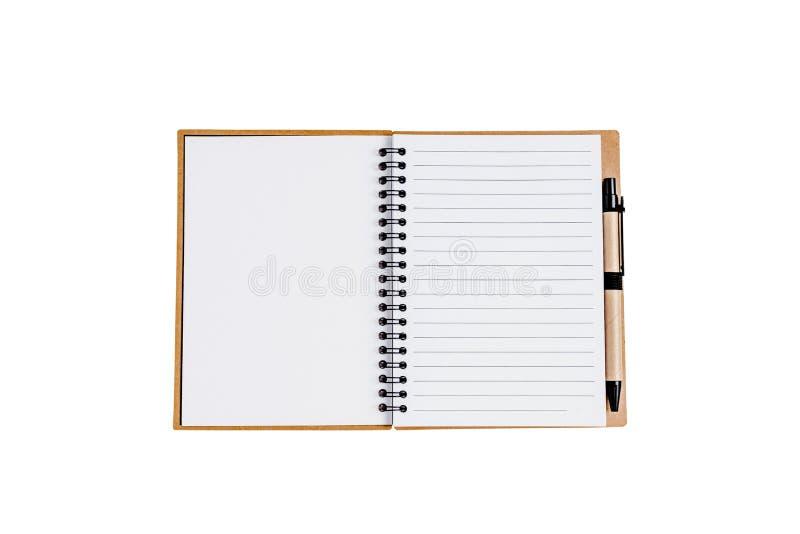 打开与被隔绝的笔的笔记本 免版税库存图片
