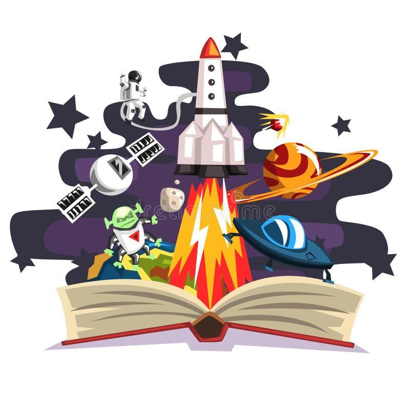 打开与里面火箭、宇航员、行星、星,飞碟太空船的书和外籍人,想象力概念 向量例证