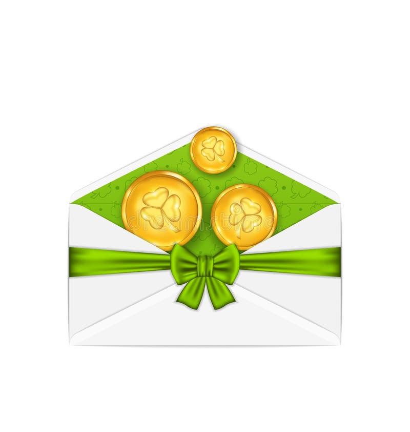 打开与金黄硬币的白色信封并且鞠躬圣的帕特丝带 库存例证