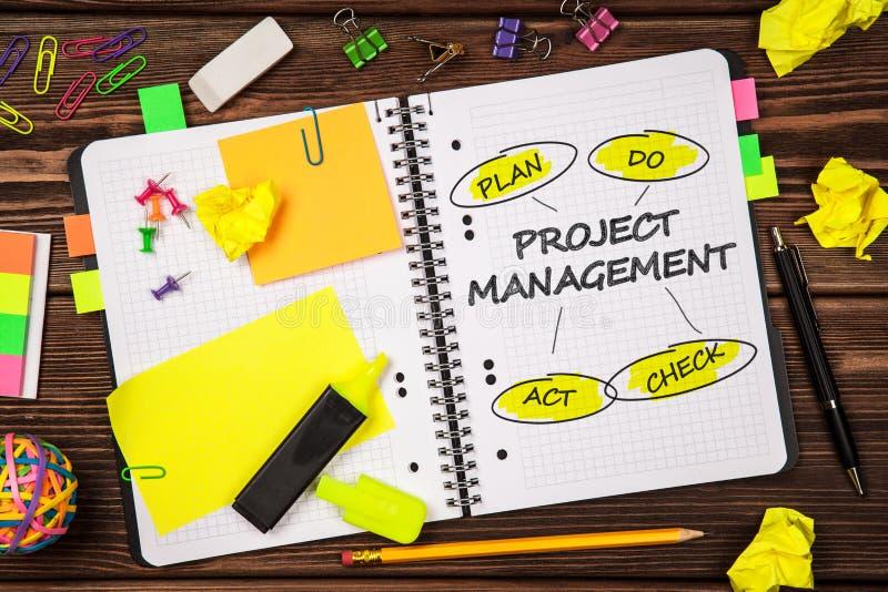 打开与项目管理标志的笔记薄 图库摄影