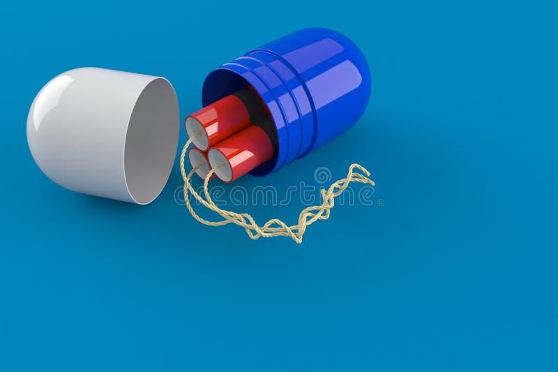 打开与tnt的药片 向量例证