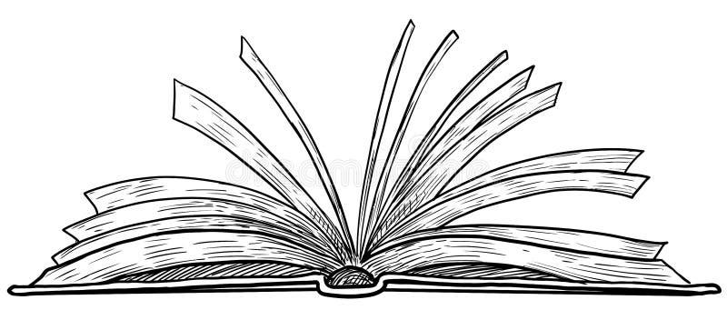 打开书图解,图画,板刻,墨水,线艺术,传染媒介 向量例证
