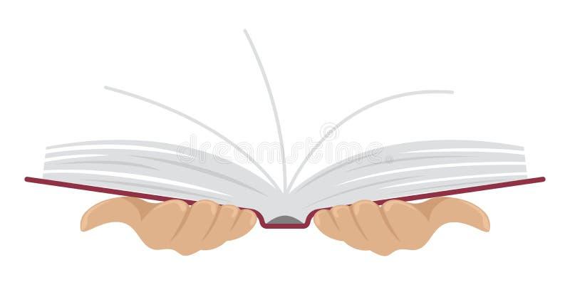 打开书在人的手上 平的样式 按钮查出的现有量例证推进s启动妇女 向量例证