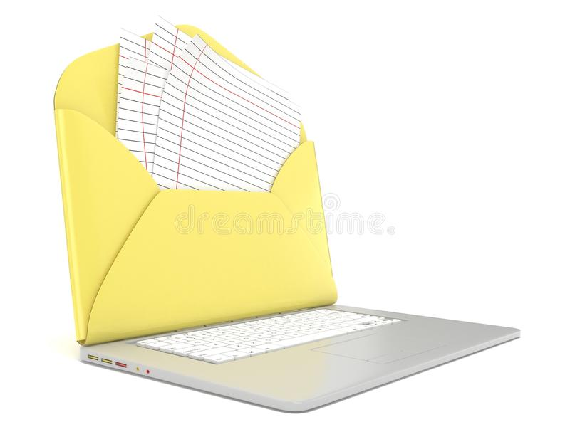 打开信封并且删去在膝上型计算机的被排行的纸 侧视图 3d回报 库存例证