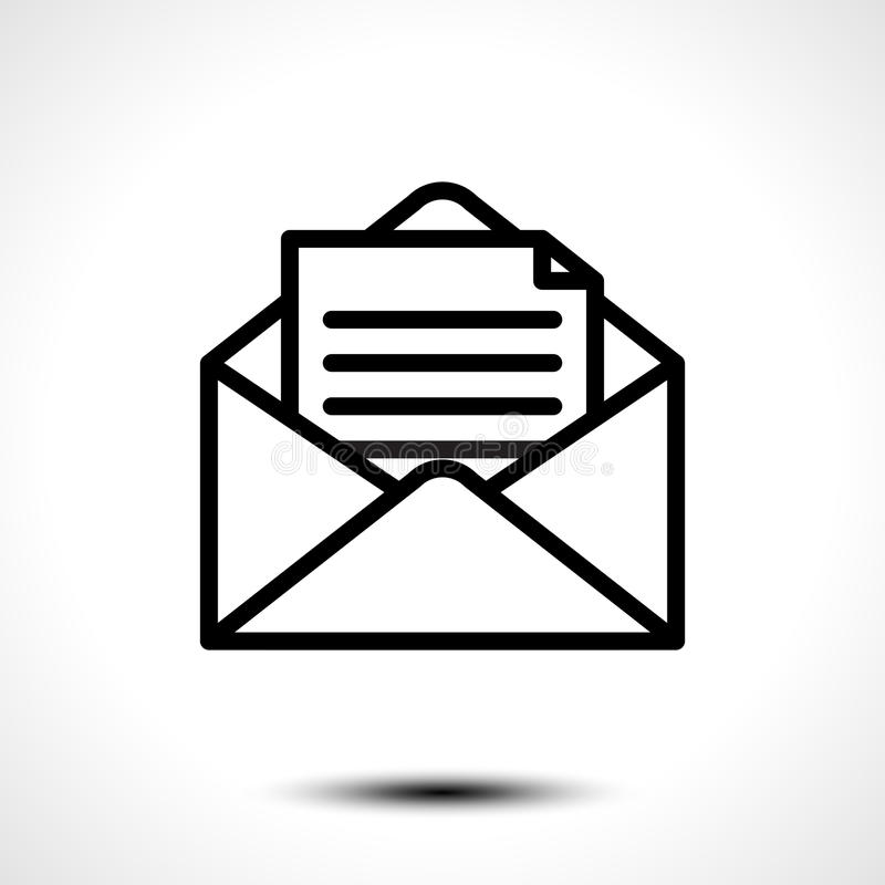 打开信件的信封 消息、邮件、电子邮件或者在白色背景隔绝的商业文件象的标志 库存例证