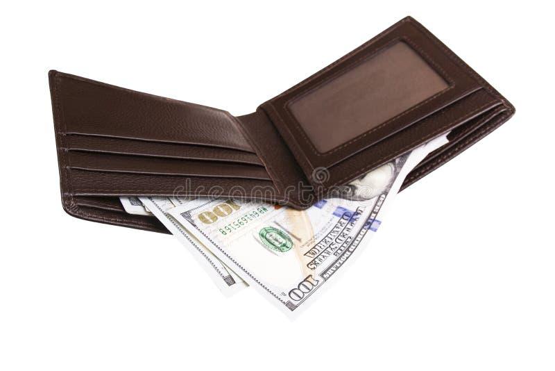 打开内有钱的钱包 免版税库存照片