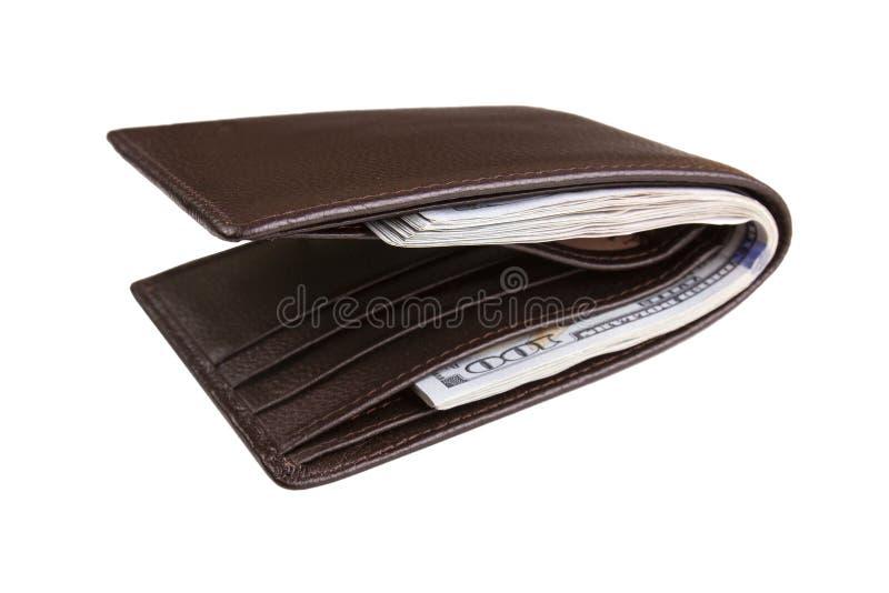 打开内有钱的钱包 免版税库存图片