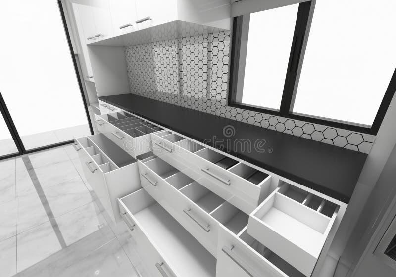 打开内阁厨房想法, 3D翻译大模型构思设计 皇族释放例证