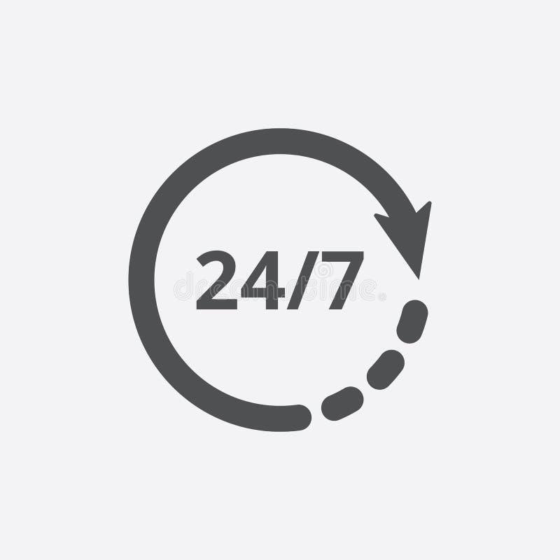 打开几小时传染媒介象 非停止工作商店或为标志服务 库存例证