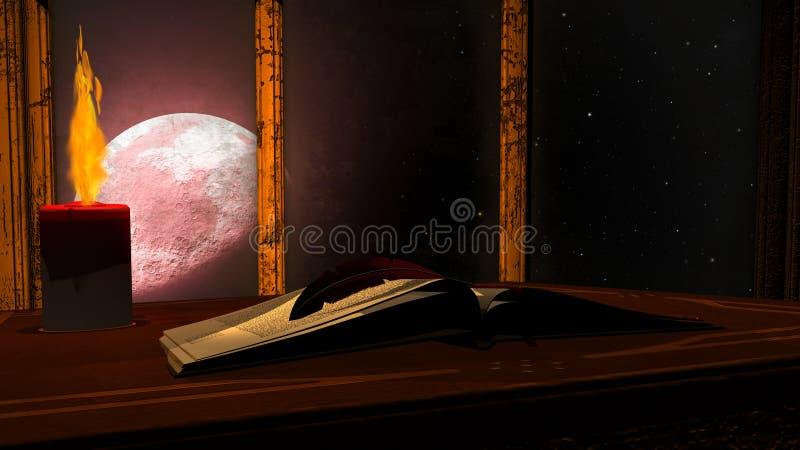 打开古色古香的书和灼烧的蜡烛在红色月亮背景 库存例证