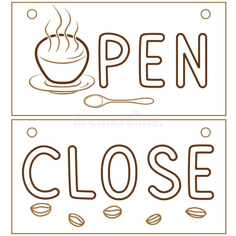 打开咖啡馆门的接近的信息横幅 餐馆与装饰咖啡元素的消息牌 线传染媒介 皇族释放例证