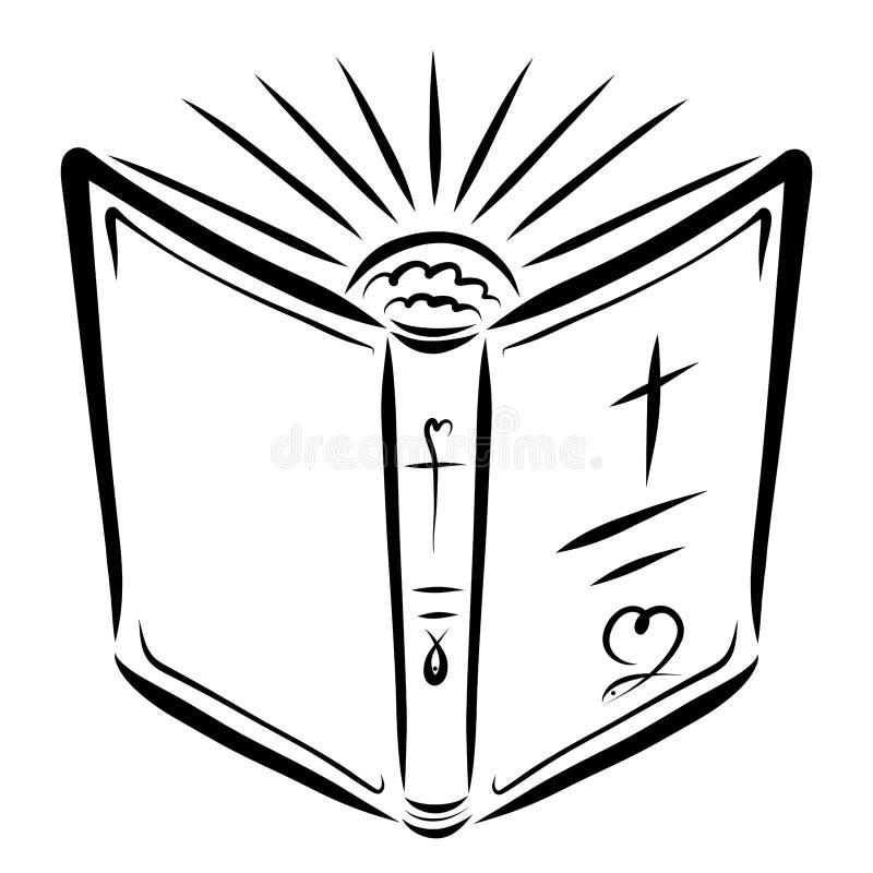 打开圣经和朝阳,福音书的光 皇族释放例证
