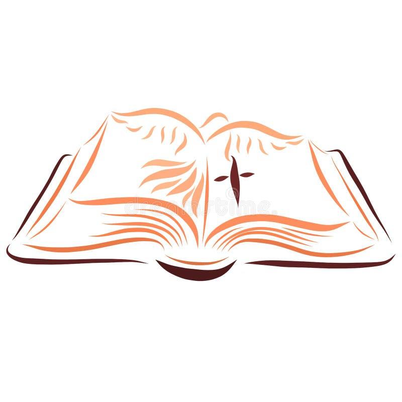 打开圣经,横渡和鸠 向量例证
