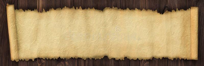 打开在一张木桌上的古老纸卷,全景纸backgroun 免版税库存照片