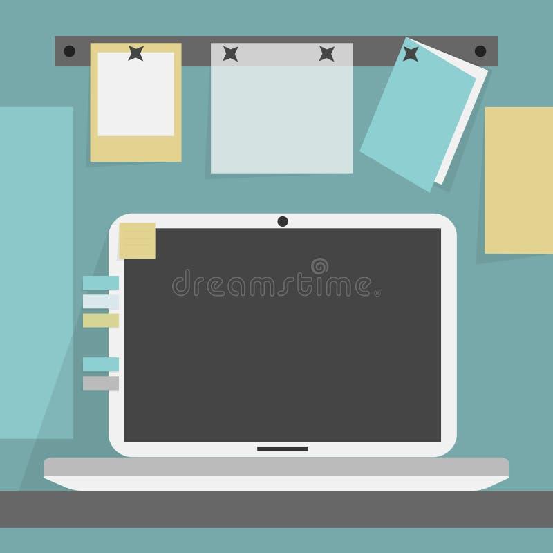 打开在书桌和背景墙壁上的膝上型计算机 皇族释放例证