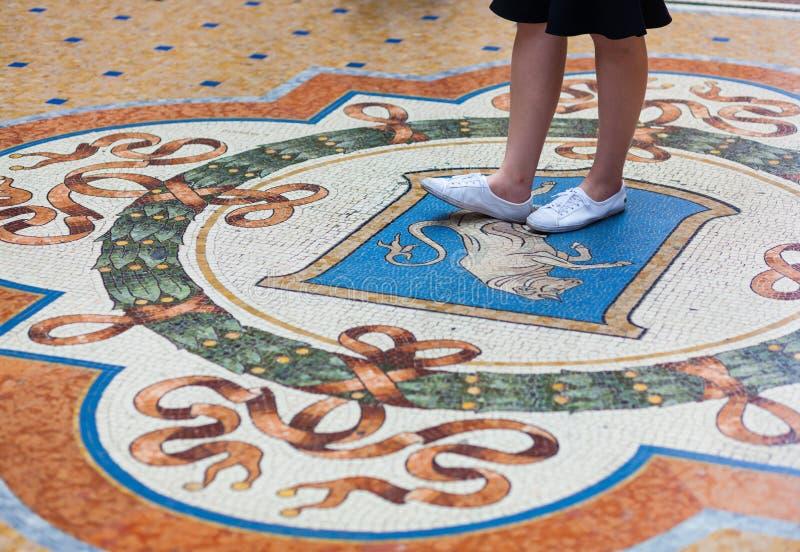 打开在圆顶场所维托里奥Emanuele II商城的公牛马赛克 免版税库存图片