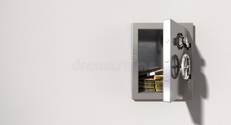 打开在墙壁上的保险柜有南非兰特的 库存图片