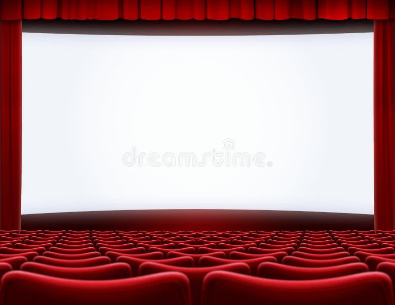 打开在戏院剧院3d例证的荧屏 免版税库存照片