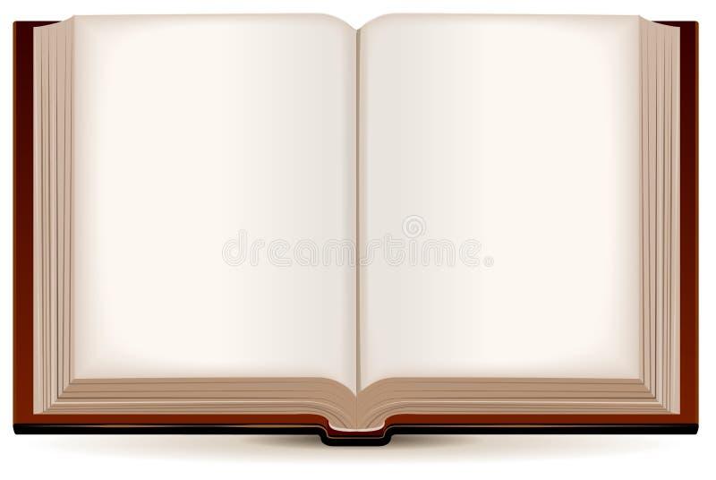 打开在棕色盖子的书 库存例证