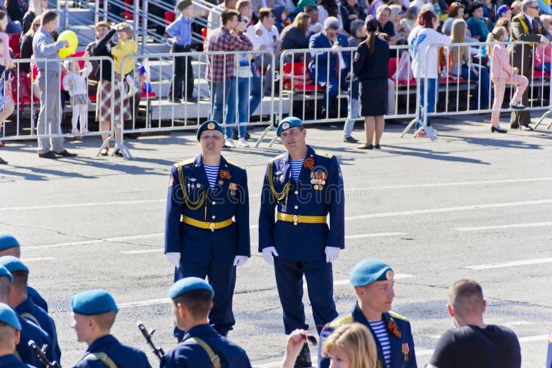 打开在每年胜利Da的军事游行俄国仪式  免版税库存图片