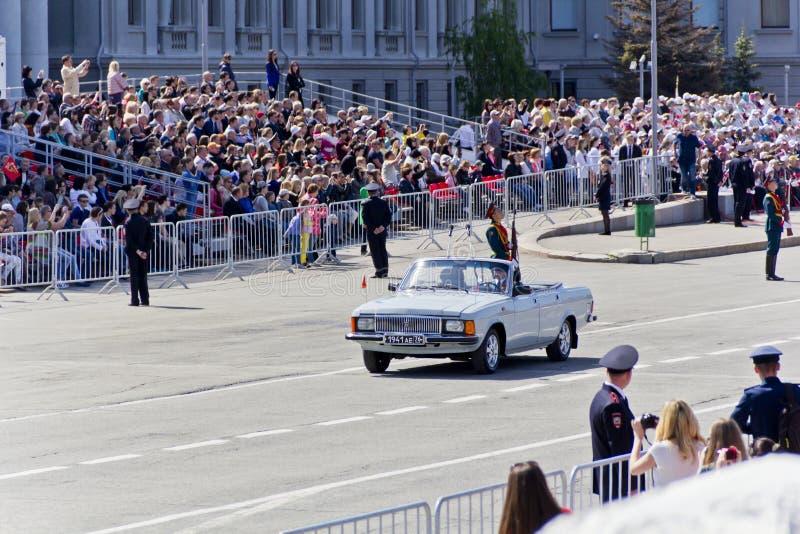 打开在每年胜利Da的军事游行俄国仪式  免版税库存照片