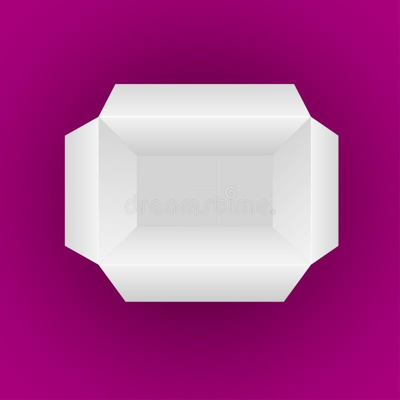 打开在洋红色背景隔绝的空的白色箱子 皇族释放例证