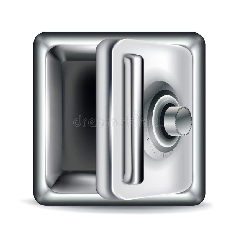 打开在白色的空的金属保险柜 库存例证