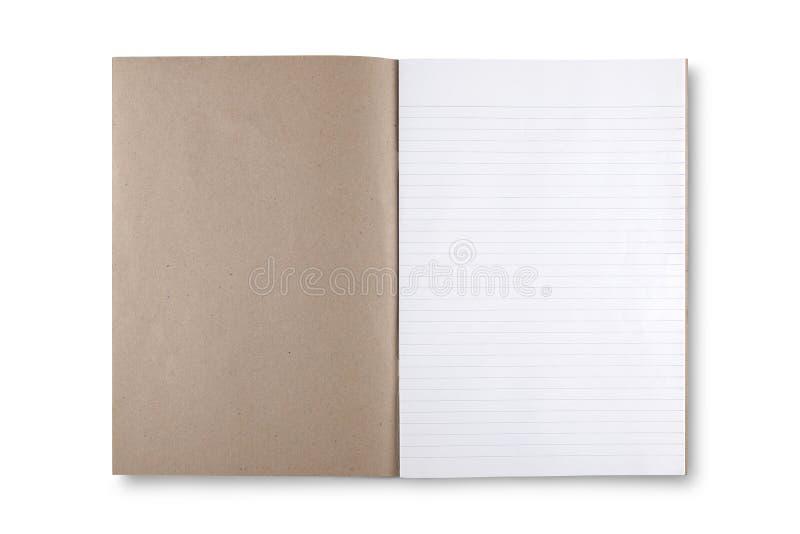 打开在白色背景的棕色书 图库摄影