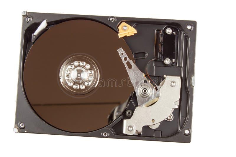 打开在白色背景的硬盘 计算机的生产 电子商店 在您的计算机上的支持的数据 免版税图库摄影