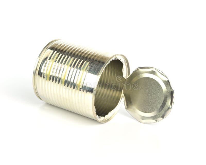 打开在白色背景的空的锡罐 免版税库存图片