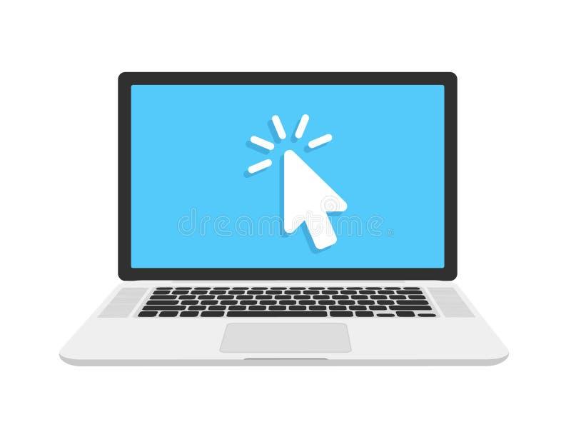 打开在背景在平的样式的膝上型计算机隔绝的 有个人计算机老鼠和键盘的膝上型计算机 平的动画片设计,传染媒介 向量例证