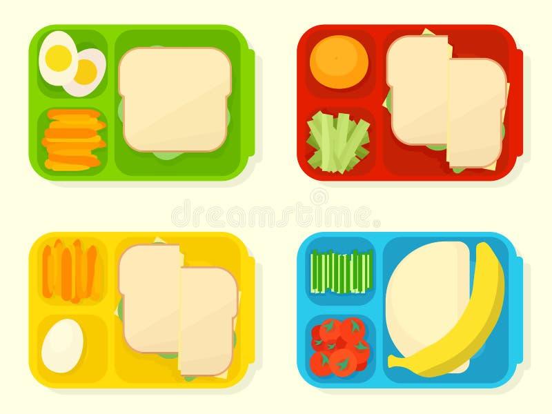 打开塑料学校午餐箱子 库存例证
