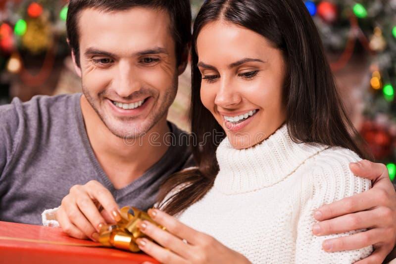 打开她的圣诞节礼物 免版税图库摄影