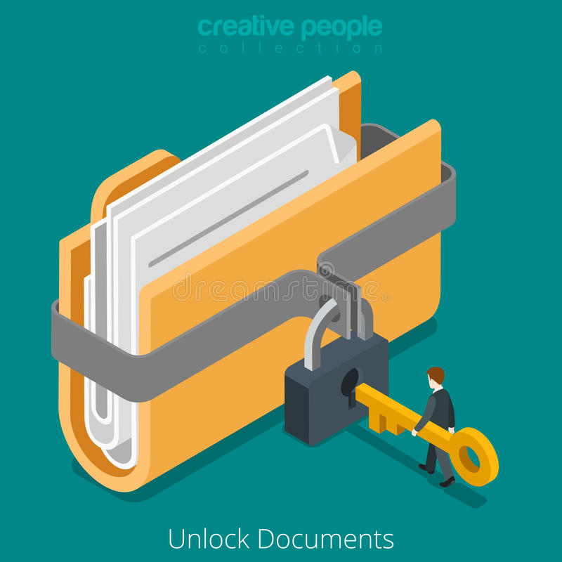 打开文件夹安全数据文件文件锁住钥匙平的传染媒介3d 向量例证