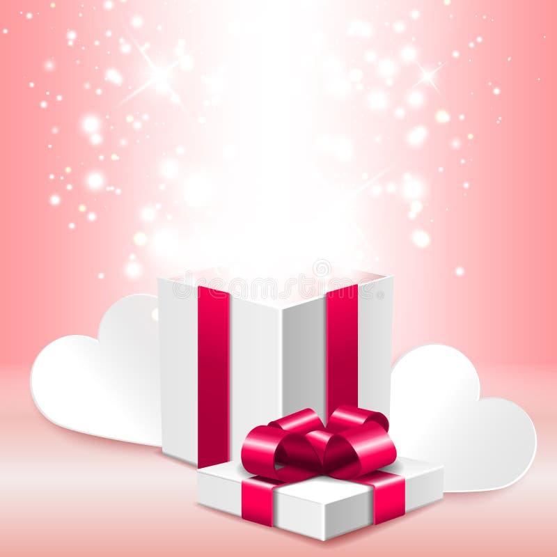 打开有亮光的,浪漫情人节例证礼物盒 库存例证