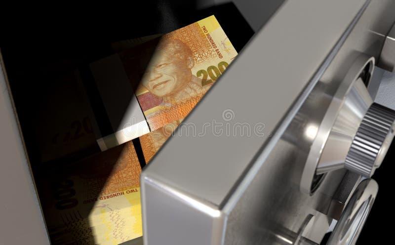 打开有南非兰特的保险柜 免版税库存图片
