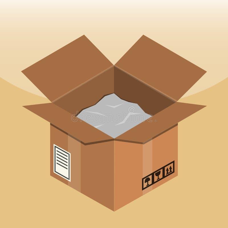 打开有在一个平的样式象做的泡沫的纸板箱 库存例证