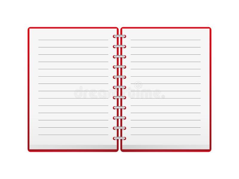 打开红色笔记本 库存例证