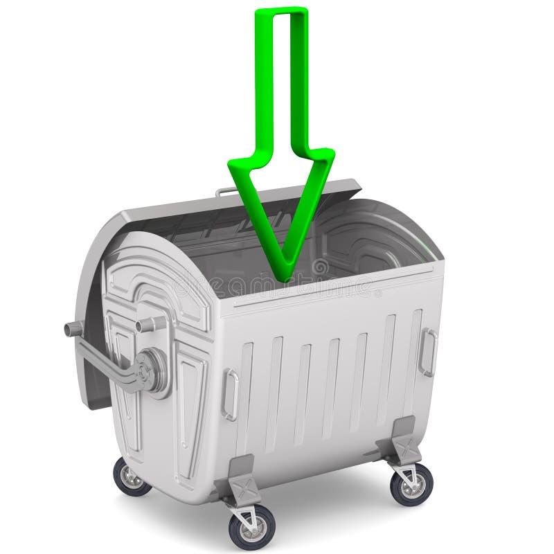 Download 打开有指向一个绿色的箭头的垃圾容器下来 库存例证. 插画 包括有 容器, 坦克, 向下, 废字纸篓, 金属 - 62538581