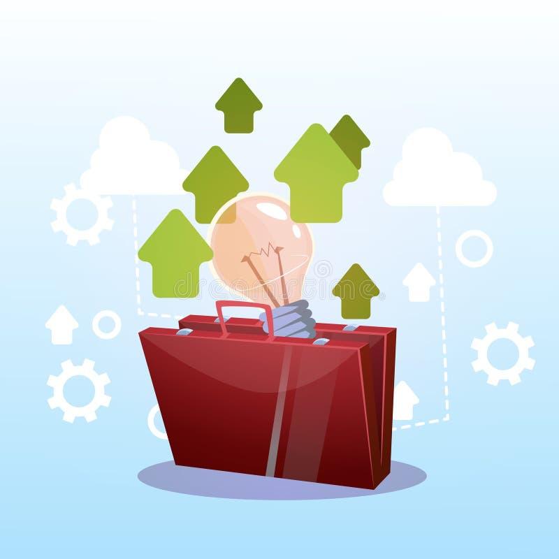 打开有电灯泡新的成功的企业想法概念的公文包 库存例证