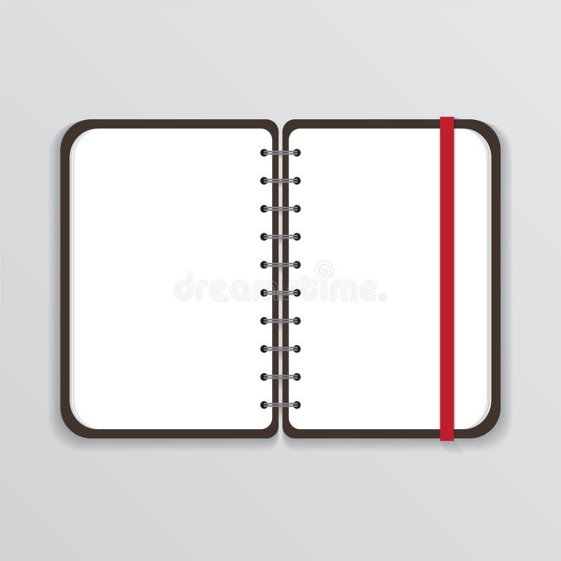 打开有白页和橡皮筋的笔记本 皇族释放例证