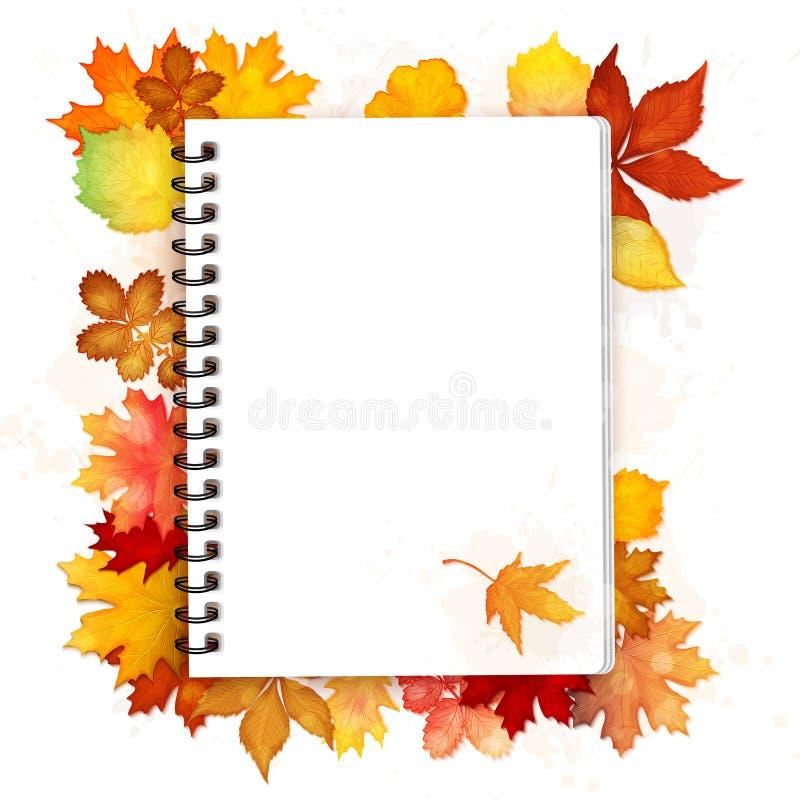 打开有秋叶传染媒介的螺纹笔记本 库存例证